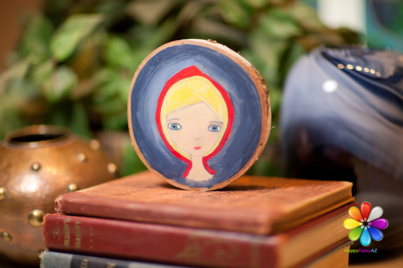 little red riding hood, original art, whimsical little red riding hood, tree slice, birch round